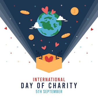 International day of charity with planet and coins