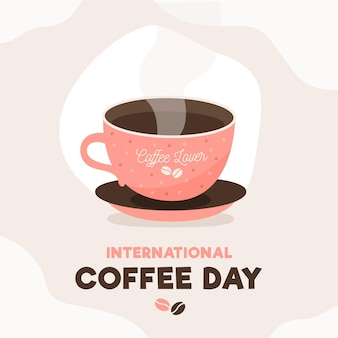 International day of coffee cup with steam