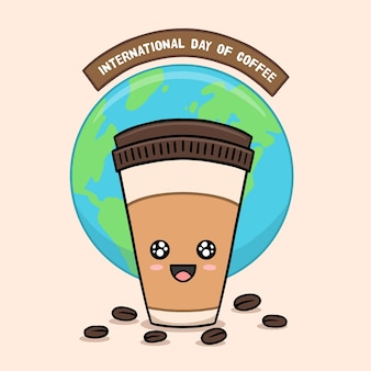 International day of coffee hand drawn style