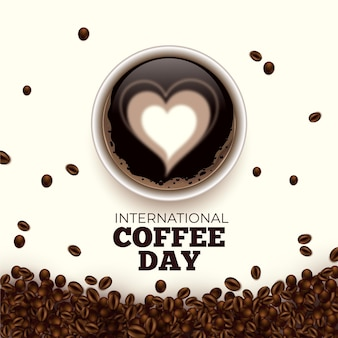 International day of coffee hearts in beverage