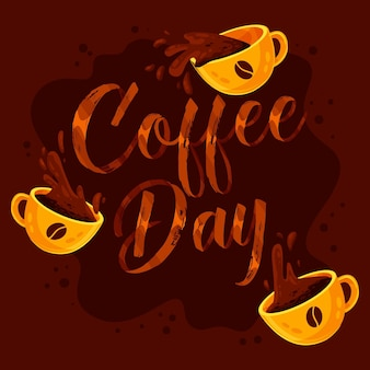 International day of coffee lettering with cups illustrated