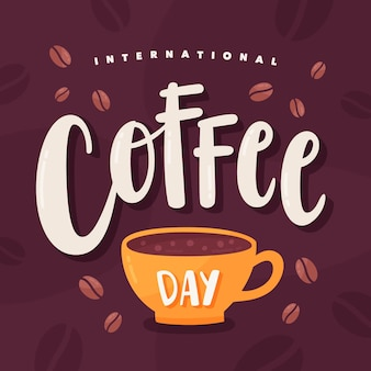 International day of coffee lettering
