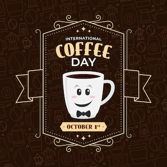 International day of coffee vintage design