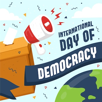 International day of democracy ballot box and megaphone