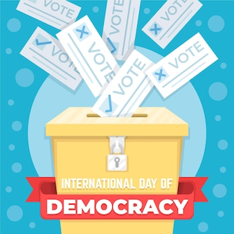 International day of democracy with ballot box