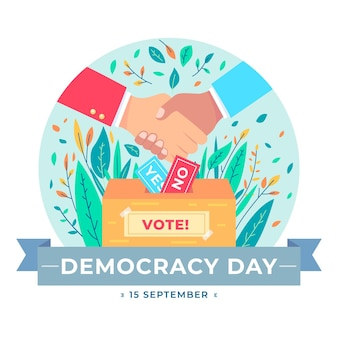 International day of democracy with handshake