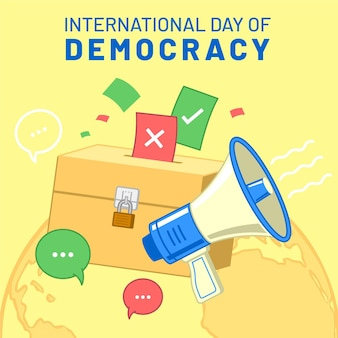 International day of democracy with megaphone