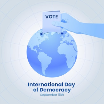International day of democracy with voting and earth