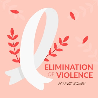 International day for the elimination of violence against women awareness ribbon with plant