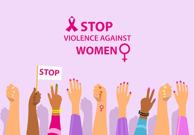 International day for the elimination of violence against women female protest hands up stop violenc