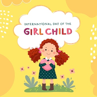 International day of the girl child background with curly red hair little girl hugging heart.