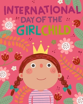 International day of the girl child background with little girl princess in floral background.