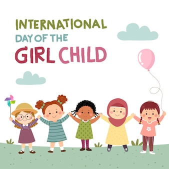 International day of the girl child background with little girls holding hands together