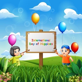 International day of happiness background with kids painting