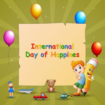 International day of happiness template with boy and toys
