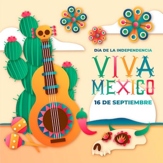 International day of mexico paper style with guitar