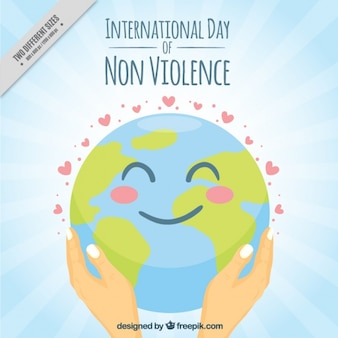 International day of non-violence happy world background