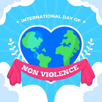 International day of non violence with heart-shaped earth