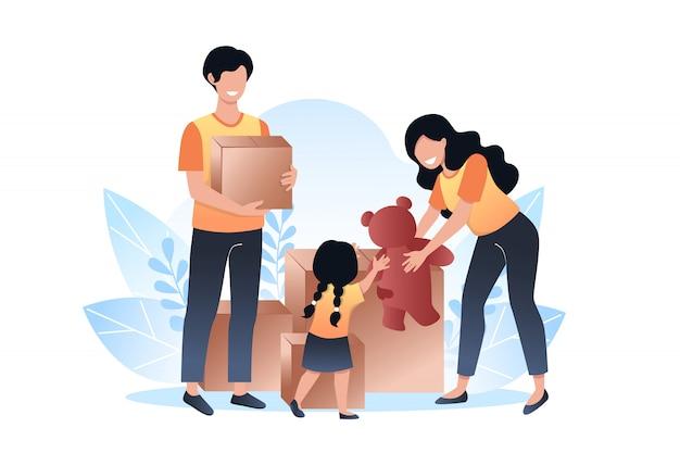 慈善の国際デー。女性は子供にテディベアを与えます。ベクトルイラスト