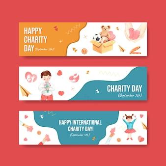 Международный день благотворительности баннер концепция дизайна с рекламой акварель вектор.