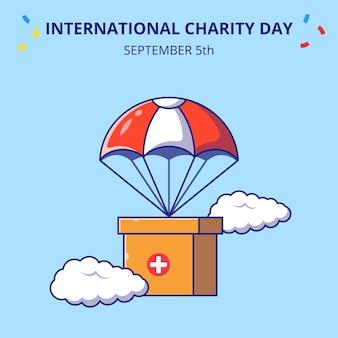 낙하산 평면 만화 아이콘 개념 일러스트와 함께 비행 자선 상자의 국제 날.