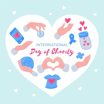 国際慈善の日手描きデザイン