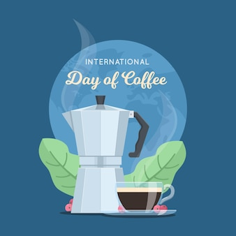 Международный день кофе плоский дизайн фона