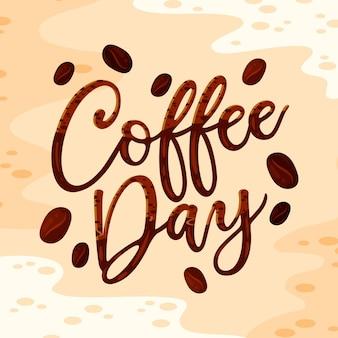 Международный день кофейной надписи Бесплатные векторы