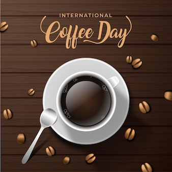 コーヒーの液体とコーヒー豆の国際デー