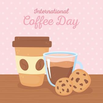 コーヒー、紙のテイクアウトカップ、クッキーの国際デー