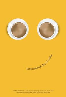 コーヒーポスター広告フレアベクトル図の国際デー