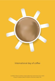 Международный день кофе плакат векторные иллюстрации