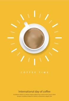 コーヒーポスターベクトル図の国際デー