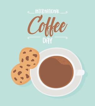 コーヒー、トップビューカップ、クッキーの国際デー