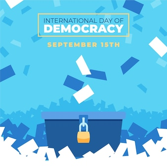 Международный день демократии фон с урной для голосования