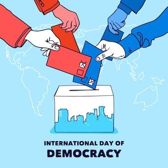 Международный день демократии фон с руками и урной для голосования