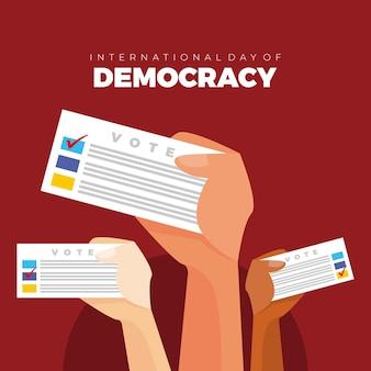 국제 민주주의의 날 벡터. 포스터, 엽서에 대한 아이디어. 배너, 소셜 미디어