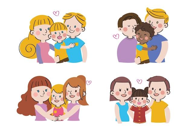국제 가족의 날 큰 사랑 달콤한 공생 가족 캐릭터