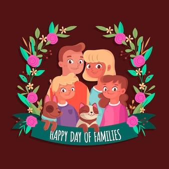 国際家族の日イラストスタイル