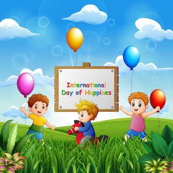 幸せな子供たちとの国際幸福デーの背景