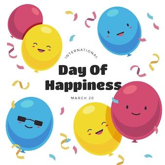 Международный день счастья иллюстрация с воздушными шарами и конфетти