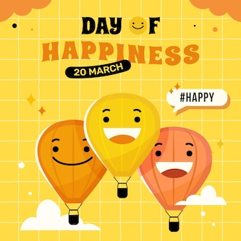 국제 행복의 날 일러스트레이션