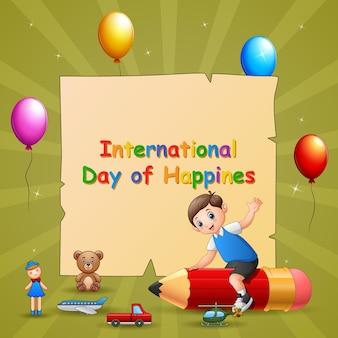 鉛筆で男の子と国際幸福デーのテンプレートデザイン