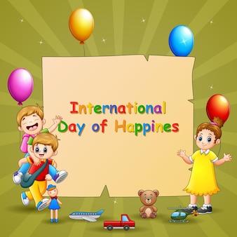 子供とおもちゃで国際幸福デーのテンプレートデザイン