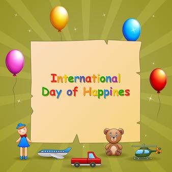 国際幸福デーテンプレートイラスト