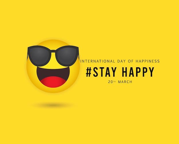 국제 행복의 날. 프리미엄 벡터