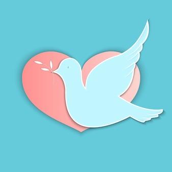 국제 평화의 날. 핑크 하트 배경에 올리브 가지가 있는 비둘기.