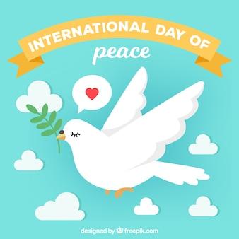 平和の日、オリーブの枝を持つ鳩