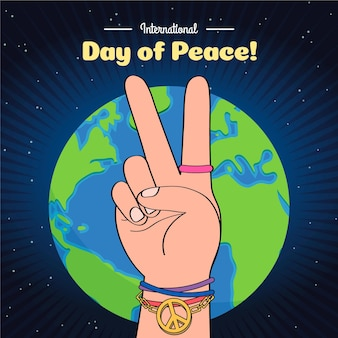 国際平和デー手描きテーマ