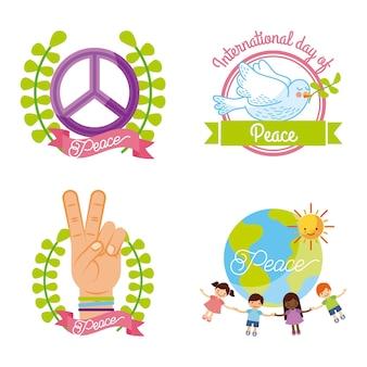 平和の国際一日アイコンセット